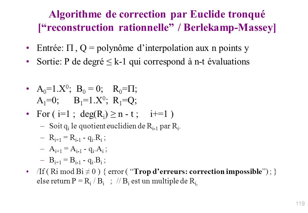 Algorithme de correction par Euclide tronqué [ reconstruction rationnelle / Berlekamp-Massey]